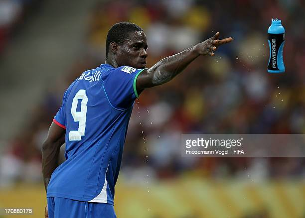 911bdf6903 Mario Balotelli of Italy throws a water bottle away during the FIFA  Confederations Cup Brazil 2013