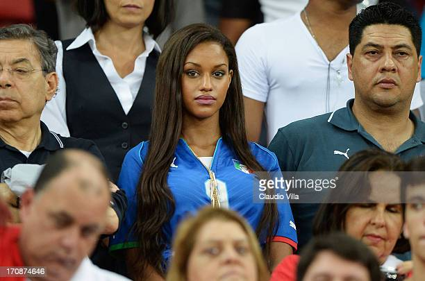 Mario Balotelli of Italy's girlfriend Fanny Neguesha looks on during the FIFA Confederations Cup Brazil 2013 Group A match between Italy and Japan at...