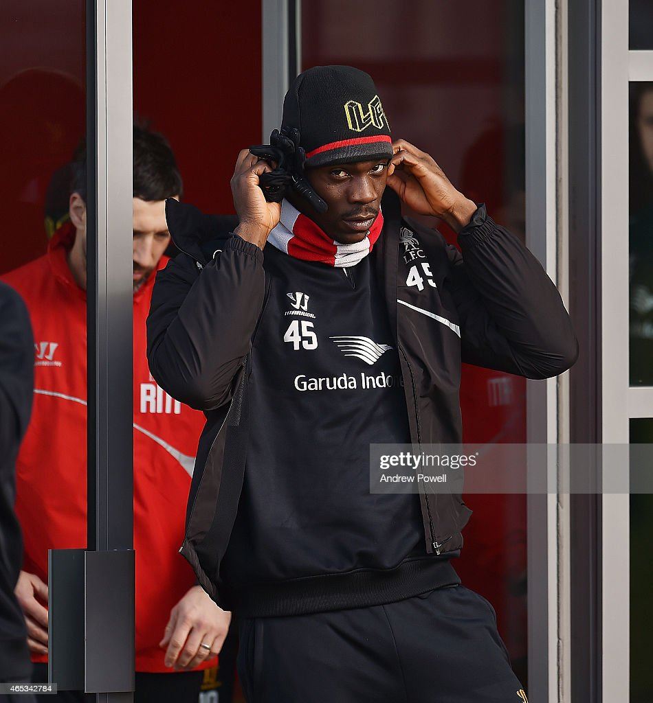 Mario Balotelli of Liveprool during a training session at Melwood Training Ground on March 6, 2015 in Liverpool, England.