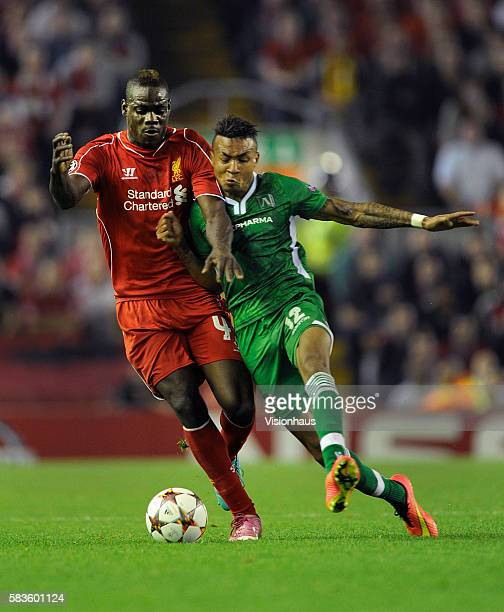 Mario Balotelli of Liverpool and Anicet Abel of PFC Ludogorets 1945 in action during the UEFA Champions League Group B match between Liverpool and...