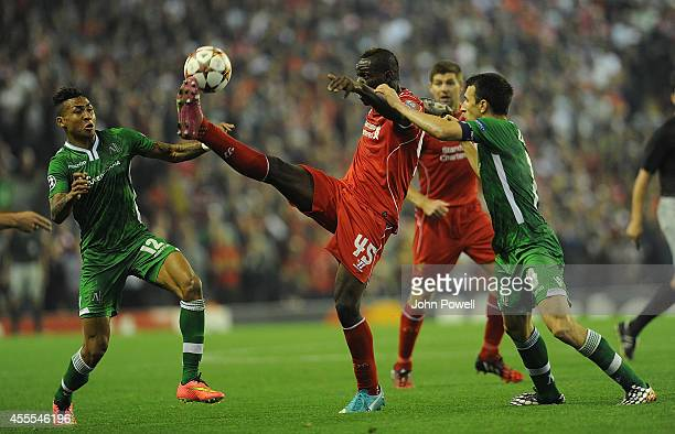 Mario Balotelli of Liverpool and Anicet Abel of PFC Ludogorets compete during the UEFA Champions League match between Liverpool and PFC Ludogorets...