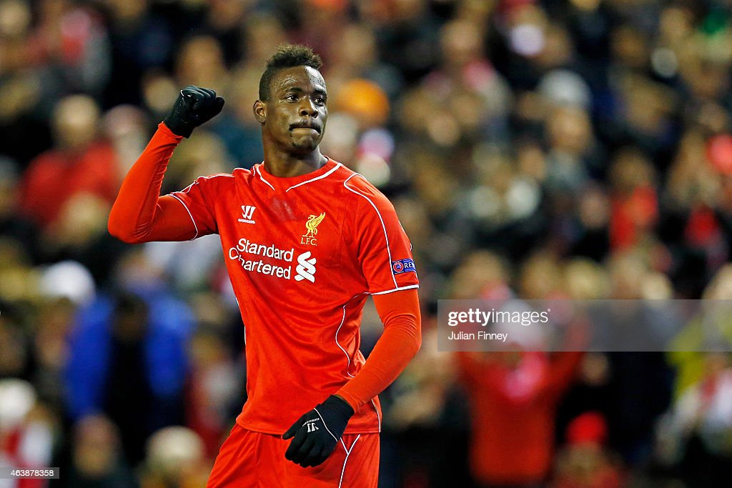Mario Balotelli of Liverpool celebrates after scoring the opening goal from the penalty spot during the UEFA Europa League Round of 32 match between Liverpool FC and Besiktas JK at Anfield on February 19, 2015 in Liverpool, United Kingdom.