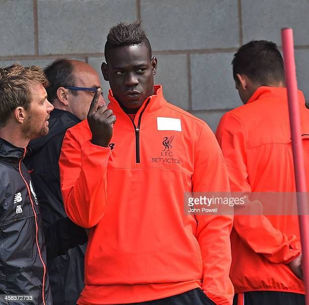 Mario Balotelli of Liverpool during the first day back at training at Melwood Training Ground on July 2 2016 in Liverpool United Kingdom