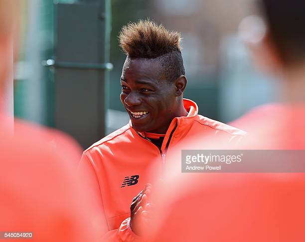 Mario Balotelli of Liverpool duringa training session at Melwood Training Ground on July 5 2016 in Liverpool England