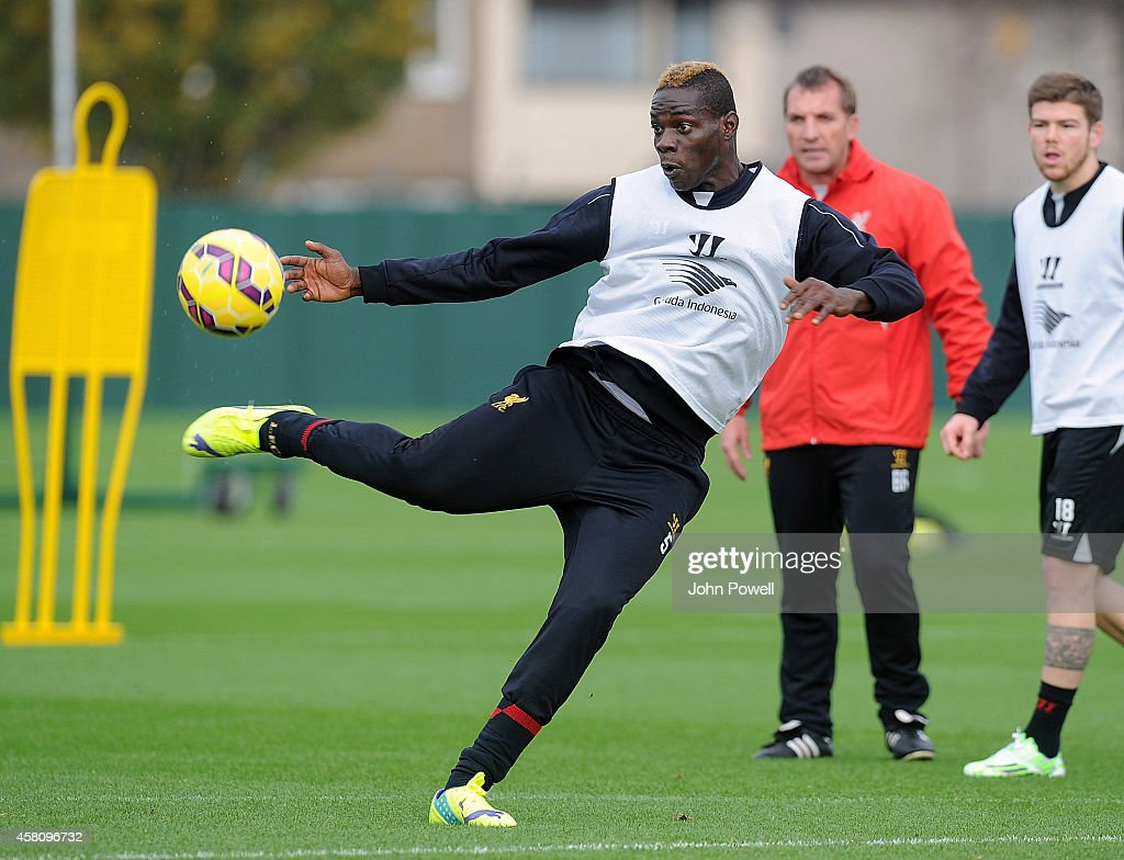 Mario Balotelli of Liverpool in action during a training session at Melwood Training Ground on October 30, 2014 in Liverpool, England.