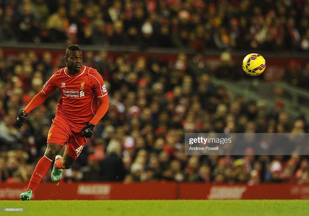 Mario Balotelli of Liverpool in action during the Barclays Premier League match between Liverpool and Swansea City at Anfield on December 29, 2014 in Liverpool, England.