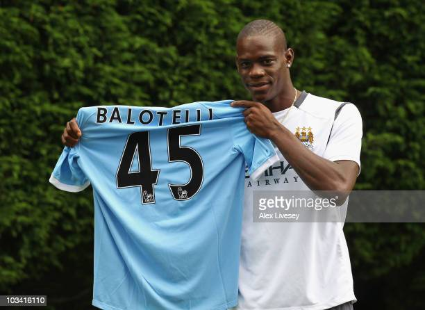 Mario Balotelli of Manchester City faces the media at the Carrington Training Complex on August 17 2010 in Manchester England