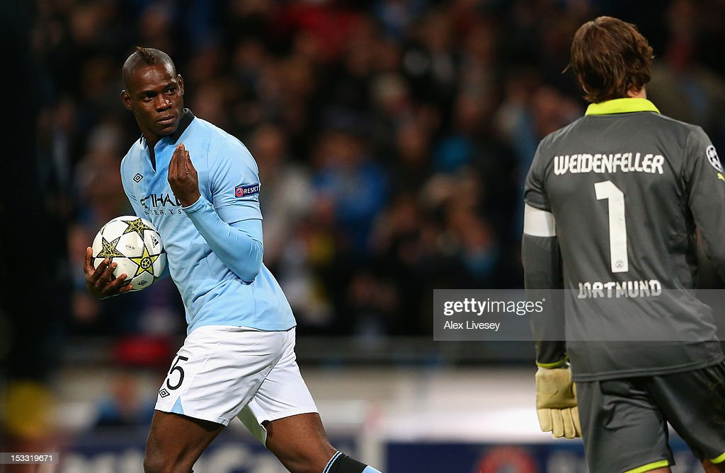 Mario Balotelli Of Manchester City Gestures To Roman