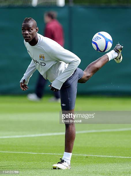 Mario Balotelli of Manchester City in action during a training session at Carrington Training Ground on May 12 2011 in Manchester England