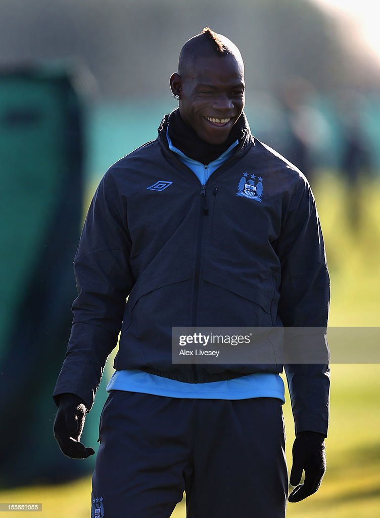 Mario Balotelli of Manchester City looks on during a training session at the Carrington Training Ground on November 5, 2012 in Manchester, England.