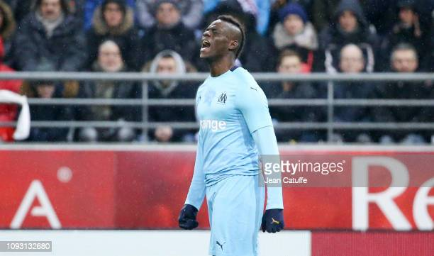 Mario Balotelli of Marseille during the french Ligue 1 match between Stade de Reims and Olympique de Marseille at Stade Auguste Delaune on February 2...
