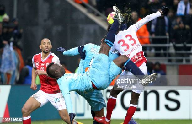 Mario Balotelli of Marseille during the french Ligue 1 match between Stade de Reims and Olympique de Marseille at Stade Auguste Delaune on February...