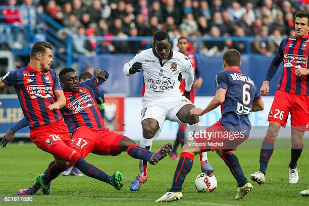 Mario Balotelli of Nice and Jean Victor Makengo of Caen during the Ligue 1 match between SM Caen and OGC Nice at Stade Michel D'Ornano on November 6,...
