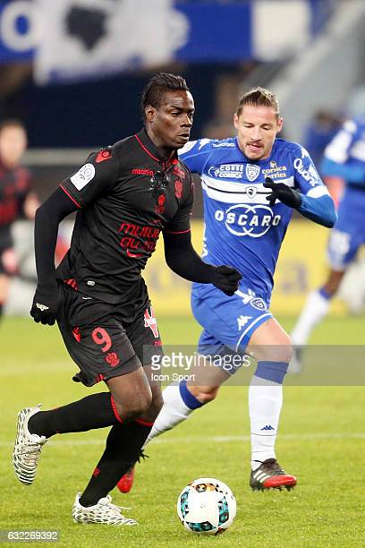 Mario Balotelli of Nice and mehdi mostefa of bastia during the French Ligue 1 match between Bastia and Nice at Stade Armand Cesari on January 21 2017...
