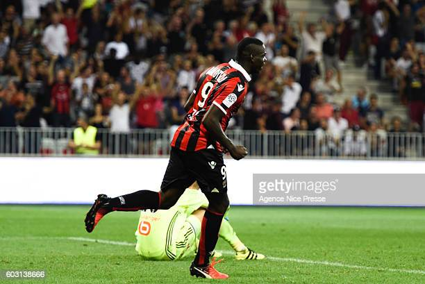 Mario Balotelli of Nice celebrate his goal during the french Ligue 1 match between Ogc Nice and Olympique de Marseille at Allianz Riviera on...