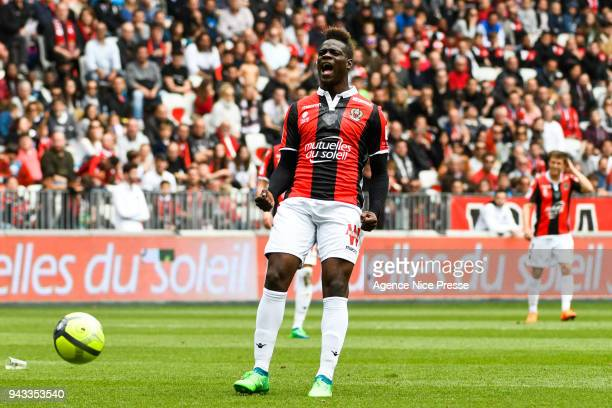 Mario Balotelli of Nice during the Ligue 1 match between OGC Nice and Stade Rennes at Allianz Riviera on April 8 2018 in Nice