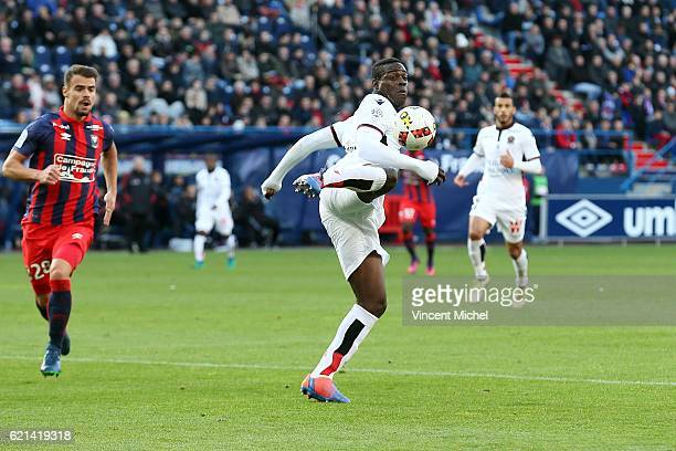 Mario Balotelli of Nice during the Ligue 1 match between SM Caen and OGC Nice at Stade Michel D'Ornano on November 6, 2016 in Caen, France.