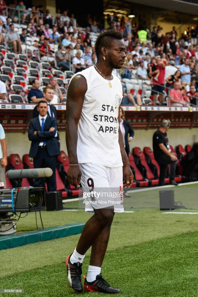 Mario Balotelli of Nice during the UEFA Champions League Qualifying match between Nice and Ajax Amsterdam at Allianz Riviera Stadium on July 26, 2017 in Nice, France.