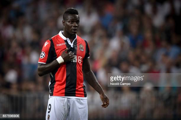 Mario Balotelli of OGC Nice looks on during the UEFA Champions League Qualifying PlayOffs Round Second Leg match between OGC Nice and SSC Napoli SSC...