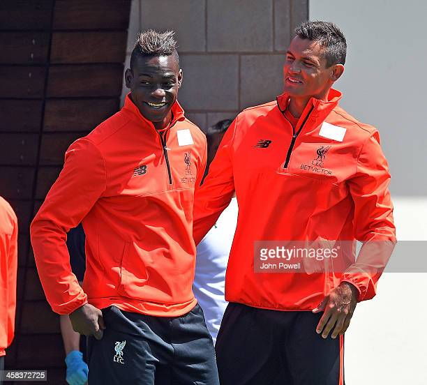 Mario Balotelli with Dejan Lovren of Liverpool during the first day back at training at Melwood Training Ground on July 2 2016 in Liverpool United...