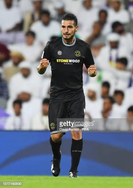 Mario Barcia of Team Wellington celebrates after scoring his team's first goal during the FIFA Club World Cup first round play-off match between Al...