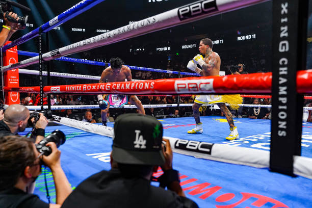 "Mario Barrios and Gervonta Davis attend attend Thomas J. Henry Sponsors Mario ""El Azteca"" Barrios In WBA Championship Boxing Match With Gervonta..."