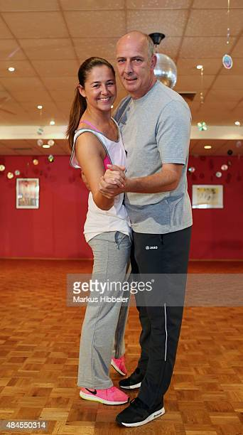 Mario Basler and Doris Bueld pose during a photo call for the TV show 'Stepping Out' on August 20, 2015 in Osnabrueck, Germany. The show will air on...