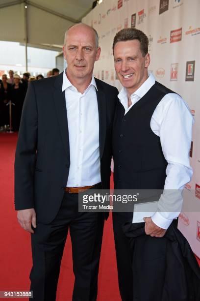 Mario Basler and Juergen Milski attend the 'Goldene Sonne 2018' Award by SonnenklarTV on April 7 2018 in Kalkar Germany