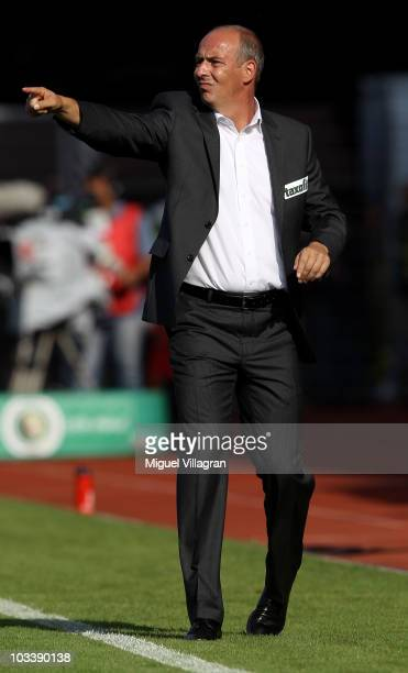 Mario Basler, head coach of Wacker Burghausen, reacts on the sideline during the DFB Cup first round match between Wacker Burghausen and Borussia...