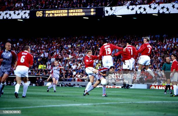 Mario Basler of Bayern Munich scores a goal during the UEFA Champions league final match between Manchester United and Bayern Munich on May 26 1999...