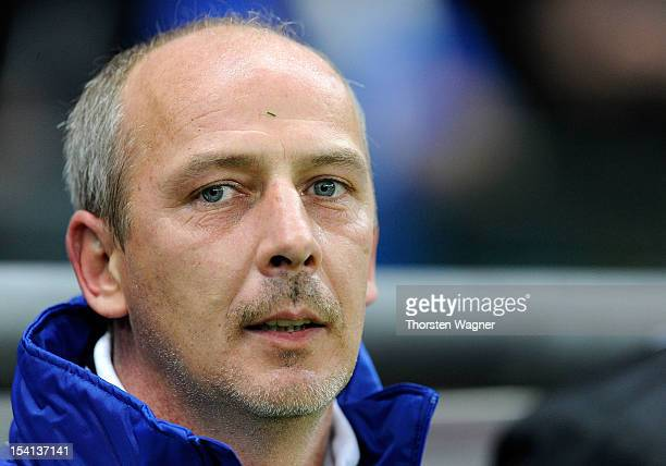 Mario Basler of Germany looks on prior to the century match between Germany and Italy at Commerzbank Arena on October 14, 2012 in Frankfurt am Main,...
