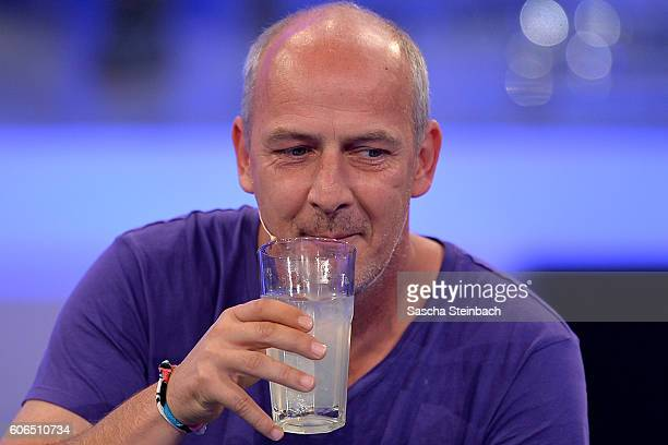 Mario Basler reacts after being retired during the finals of 'Promi Big Brother 2016' at MMC Studios on September 16, 2016 in Cologne, Germany.