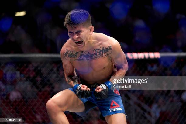 Mario Bautista celebrates his TKO victory over Miles Johns during the UFC 247 event at Toyota Center on February 08, 2020 in Houston, Texas.