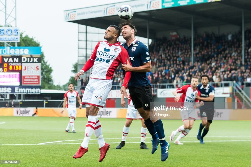 Mario Bilate of FC Emmen, Sander Fischer of Sparta Rotterdam during the Dutch Jupiler League play-offs final match between FC Emmen and Sparta Rotterdam at the JenS Vesting on May 17, 2018 in Emmen, The Netherlands