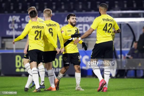 Mario Bilate of NAC Breda celebrates 2-2 with Mounir el Allouchi of NAC Breda during the Dutch Keuken Kampioen Divisie match between NAC Breda v Roda...