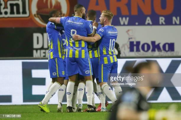 Mario Bilate of RKC Waalwijk, Richard van der Venne of RKC Waalwijk, Emil Hansson of RKC Waalwijk, 1-0 during the Dutch Eredivisie match between RKC...