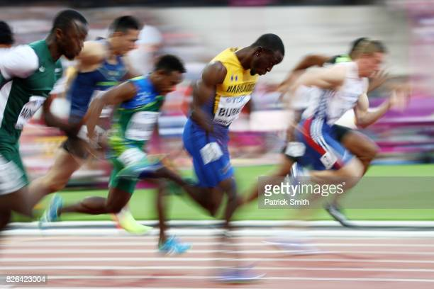 Mario Burke of Barbados competes in the Men's 100 metres heats during day one of the 16th IAAF World Athletics Championships London 2017 at The...