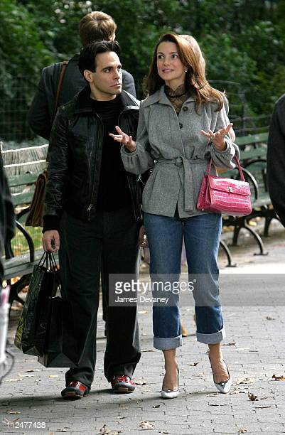 Mario Cantone and Kristin Davis during Kristin Davis and Mario Cantone on Location for 'Sex and the City' at Central Park in New York City New York...