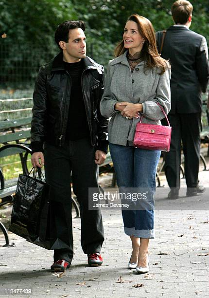 Mario Cantone and Kristin Davis during Kristin Davis and Mario Cantone on Location for Sex and the City at Central Park in New York City New York...