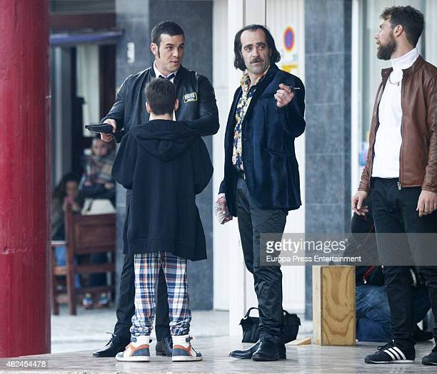 Mario Casas and Luis Tosar are seen on the set filming of 'Toro' on January 26 2015 in Malaga Spain