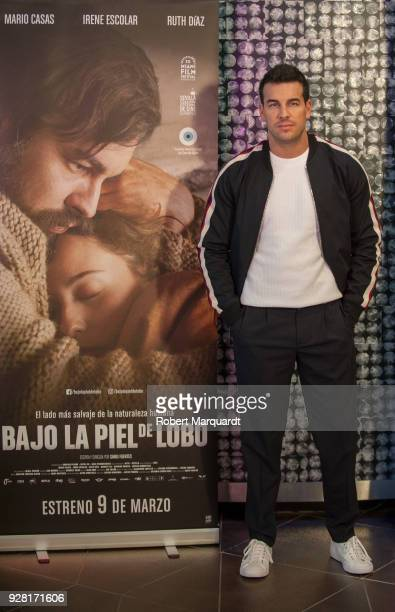 Mario Casas poses during a photocall for his latest film 'Bajo la Piel del Lobo' at the Hotel Barcelo Raval on March 6 2018 in Barcelona Spain