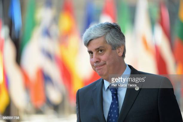 Mario Centeno, Eurogroup President arrives at at the EU Council Meeting at European Parliament on June 29, 2018 in Brussels, Belgium. The European...