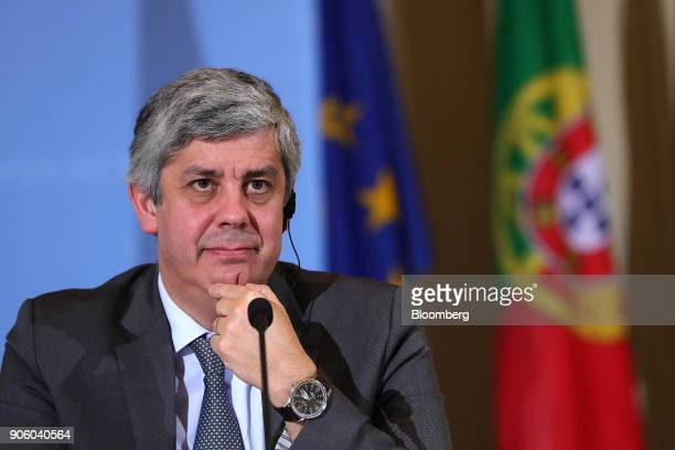 Mario Centeno Portugal's finance minister and head of the group of euroarea finance ministers looks on during a news conference at the finance...