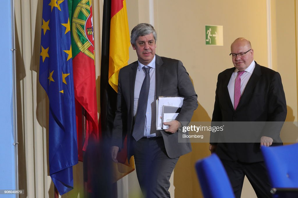 Head Of Euro-area Finance Ministers Mario Centeno And Germany's Acting Finance Minister Peter Altmaier Hold News Conference