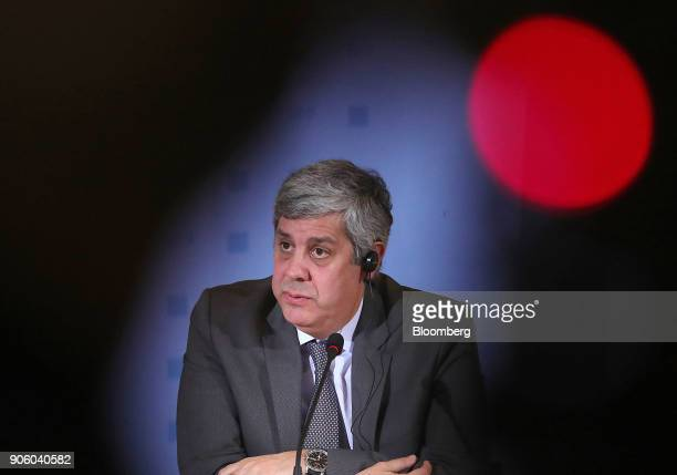Mario Centeno, Portugal's finance minister and head of the group of euro-area finance ministers, speaks during a news conference at the finance...