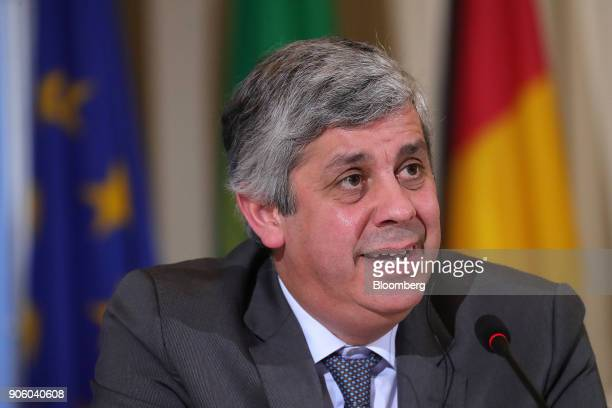 Mario Centeno Portugal's finance minister and head of the group of euroarea finance ministers speaks during a news conference at the finance ministry...