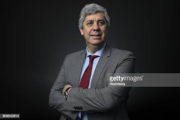 Mario Centeno, Portugal's finance minister and head of the group of euro-area finance ministers, poses for a photograph following a Bloomberg...