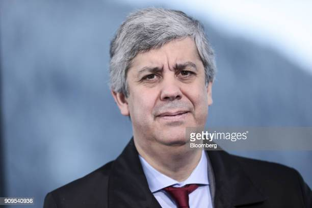 Mario Centeno, Portugal's finance minister and head of the group of euro-area finance ministers, looks on during a Bloomberg Television interview on...