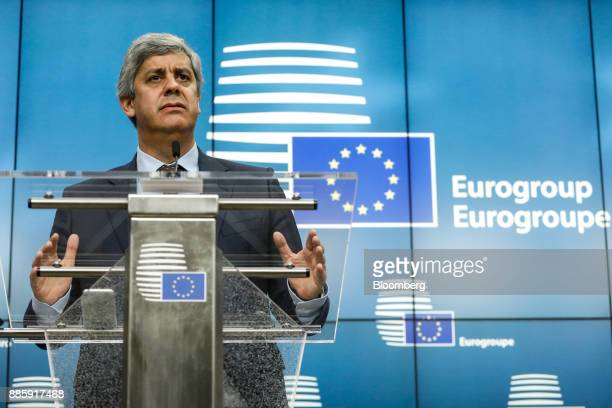 Mario Centeno Portugal's finance minister and newlyelected head of the group of euroarea finance ministers pauses during a news conference at the...