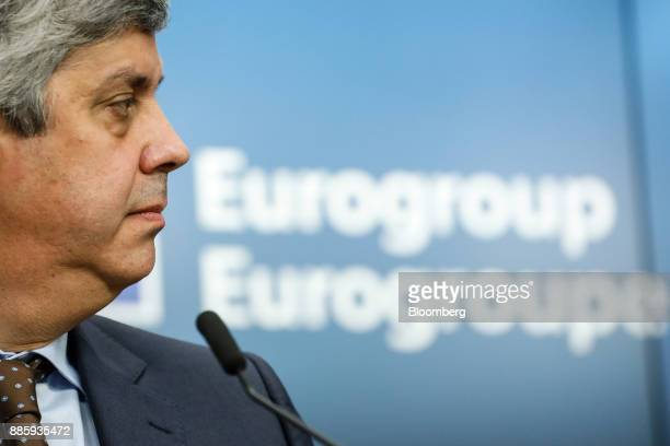 Mario Centeno Portugal's finance minister and newlyelected head of the group of euroarea finance ministers looks on during a news conference at the...